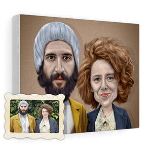 Caricature Portrait Custom Illustrated Canvas - Print My Portrait