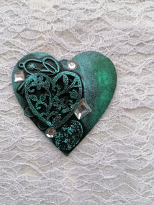 "Magnet Lemn Mixed Media ""Turquoise Heart"""