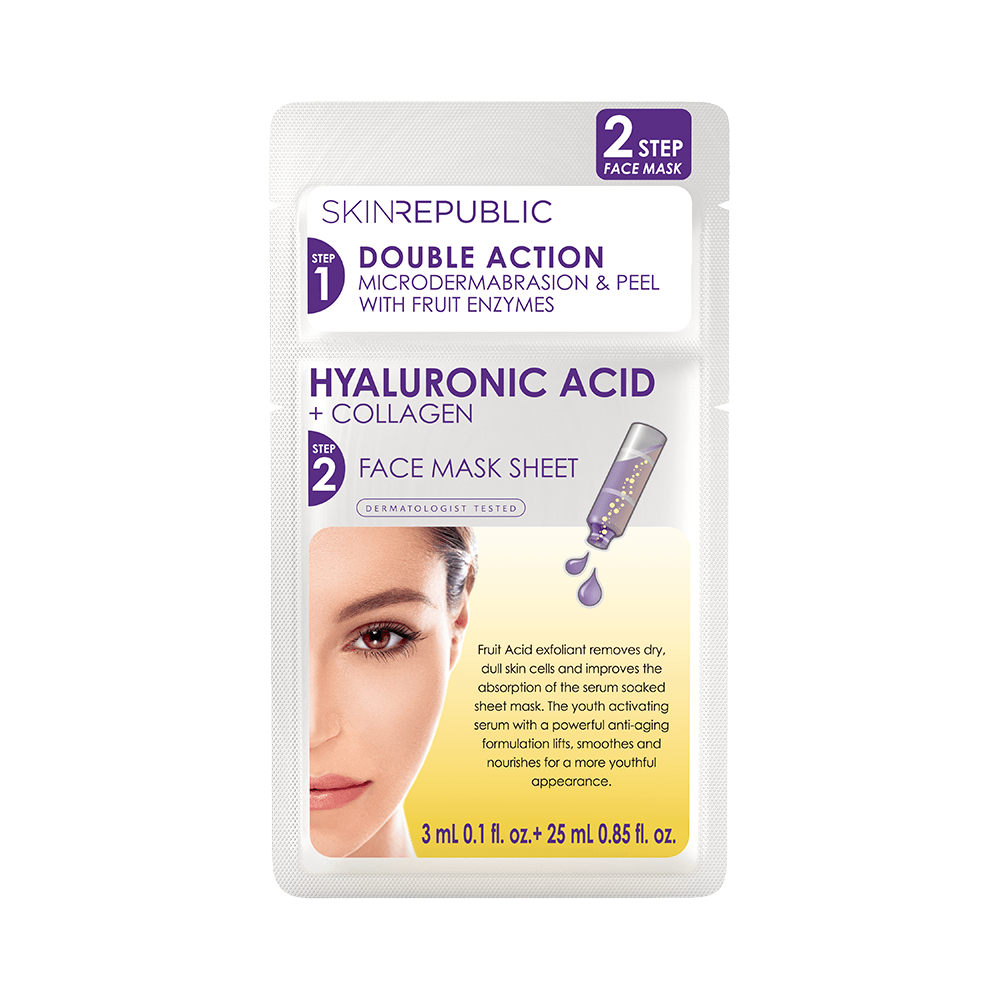 SKIN REPUBLIC 2 Step Hyaluronic Acid + Collagen Face Mask SKIN REPUBLIC