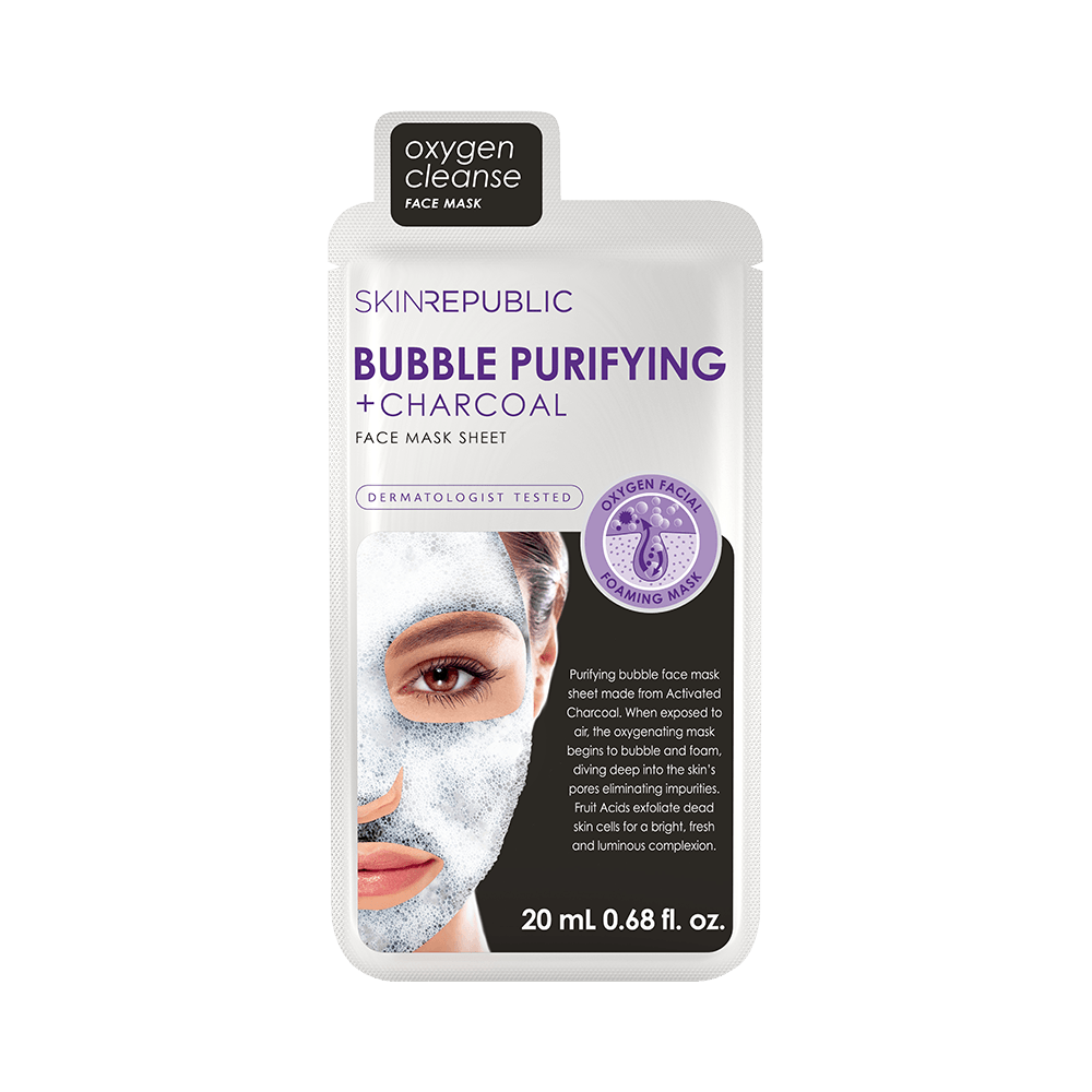 SKIN REPUBLIC Bubble Purifying + Charcoal Face Mask Sheet SKIN REPUBLIC