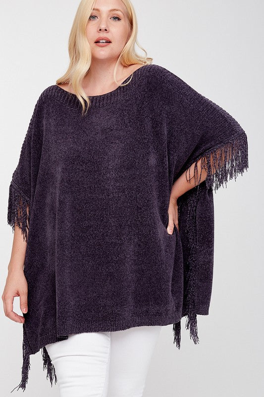 Charcoal Tassel Poncho - Catching Fireflies Boutique