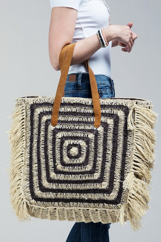 Charcoal Square Fringe Handbag - Catching Fireflies Boutique