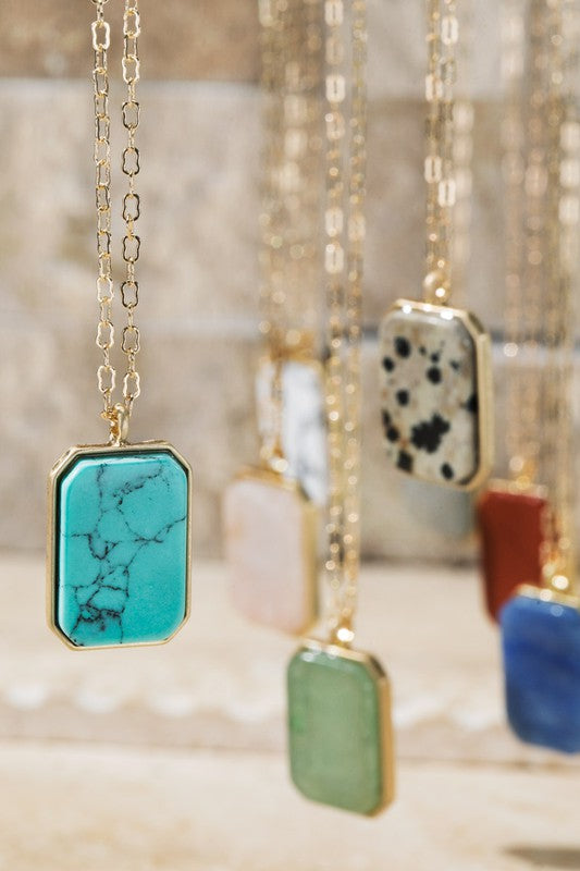 Rectangle Natural Stone Necklace - Catching Fireflies Boutique
