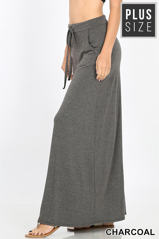 Charcoal Plus Drawstring Maxi Skirt - Catching Fireflies Boutique