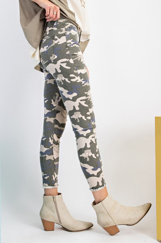 Faded Olive Camo Distress Pants - Catching Fireflies Boutique
