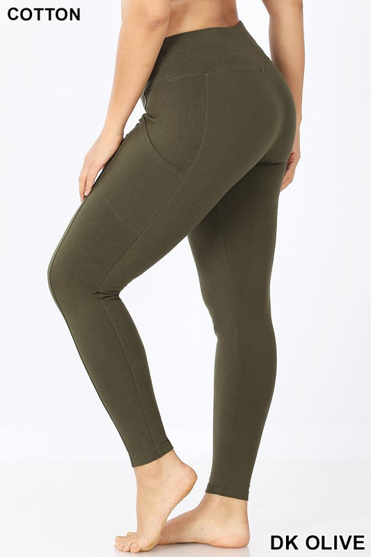 Dark Olive Plus Leggings With Side Pockets - Catching Fireflies Boutique