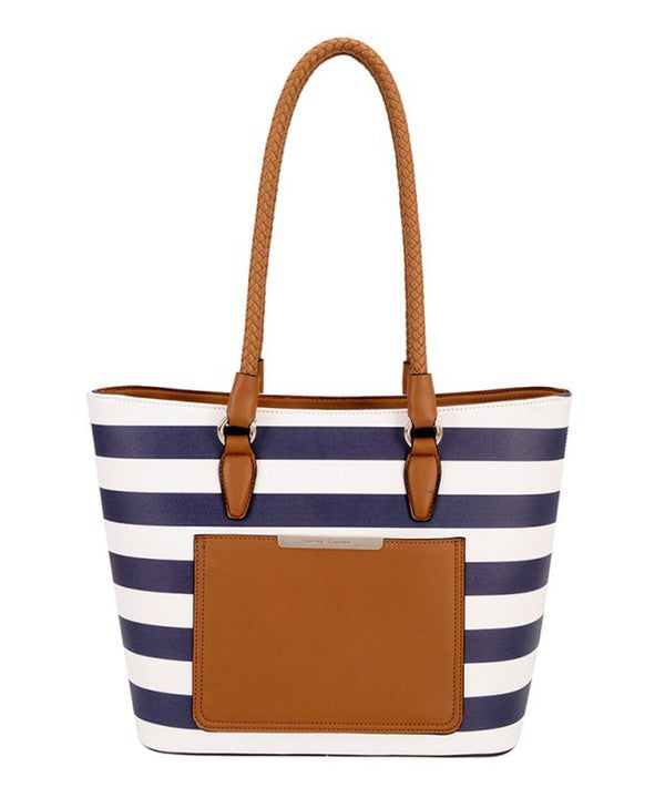 Navy/White Stripe Handbag - Catching Fireflies Boutique