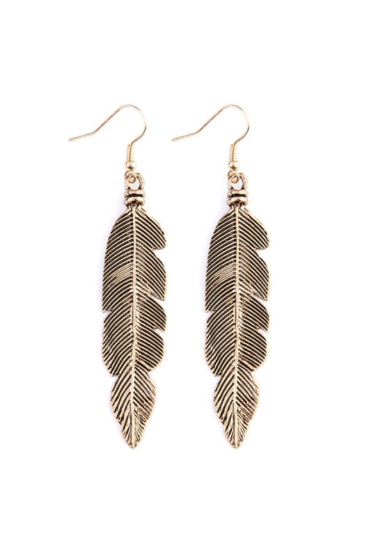 Feather Etched Drop Earrings