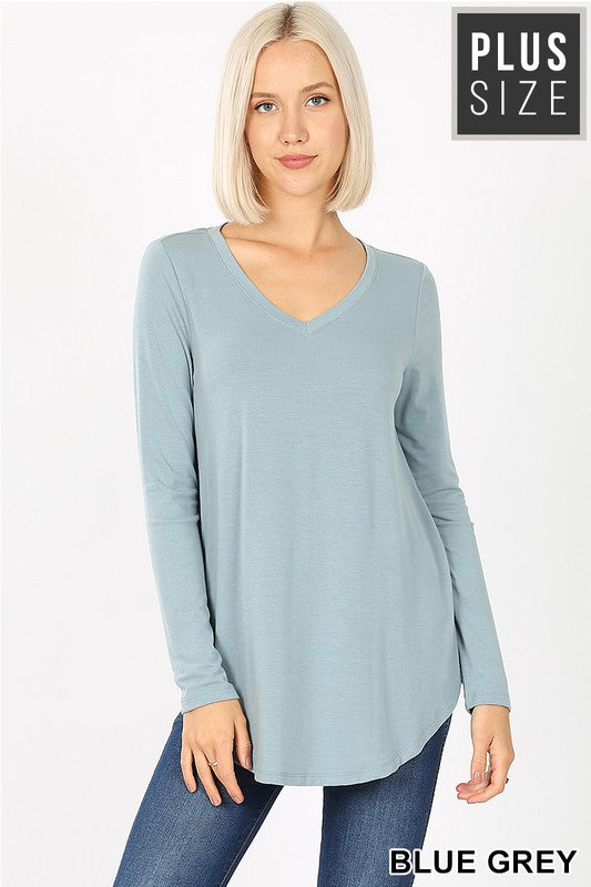 Blue Grey Plus Long Sleeve - Catching Fireflies Boutique
