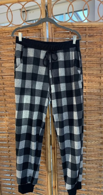 Black/Ivory Plaid Drawstring Sweatpants - Catching Fireflies Boutique