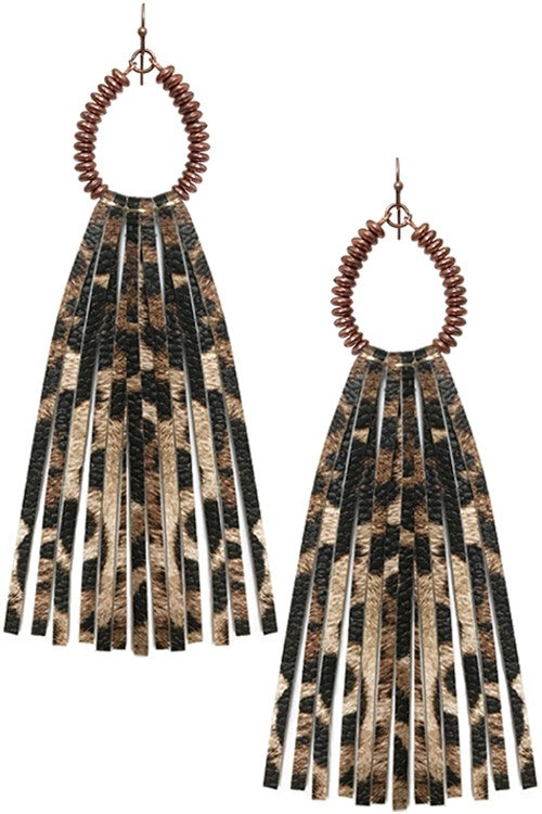Teardrop Leopard Tassel Earrings - Catching Fireflies Boutique
