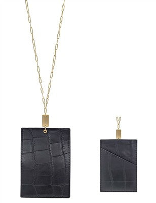 Leather Card/ID Holder with Gold Chain Necklace - Catching Fireflies Boutique