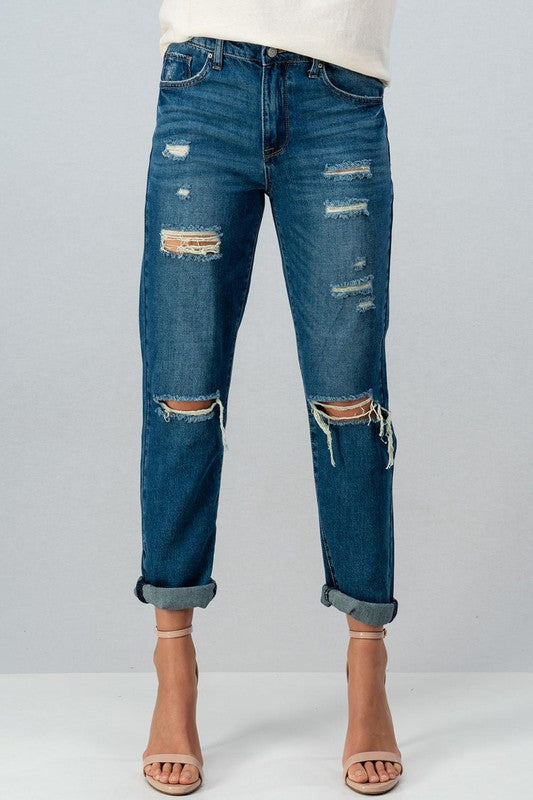 Sheila Distressed Boyfriend Jeans - Catching Fireflies Boutique