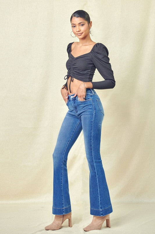 Flashback High Rise Flare Jeans - Catching Fireflies Boutique
