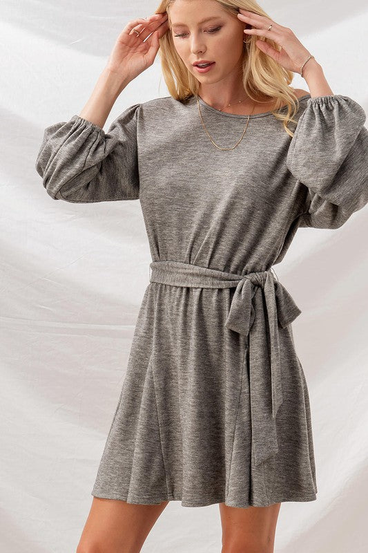 Heather Grey Balloon Sleeve Drop Shoulder Dress - Catching Fireflies Boutique