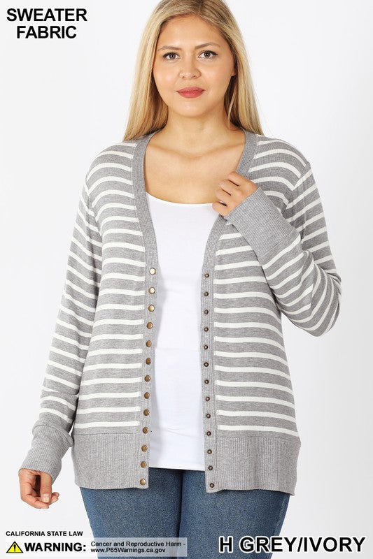 Grey/Ivory Plus Striped Snap Cardigan - Catching Fireflies Boutique