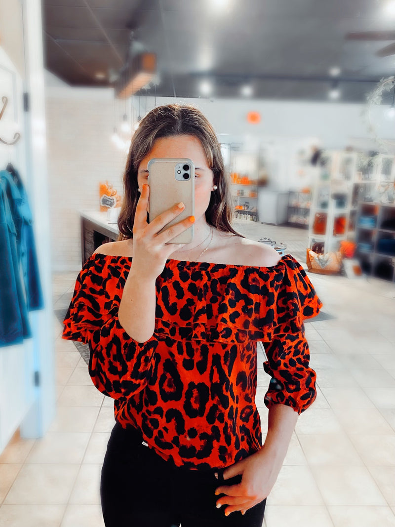 Red Leopard Off The Shoulder - Catching Fireflies Boutique