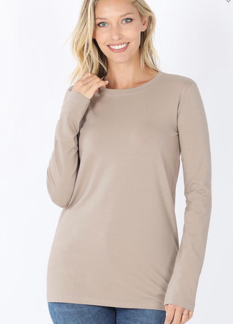 Ash Mocha Cotton Long Sleeve Shirt - Catching Fireflies Boutique