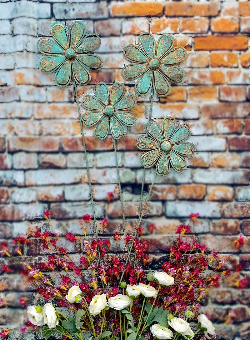 Turquoise Rusty Flower Stakes - Catching Fireflies Boutique