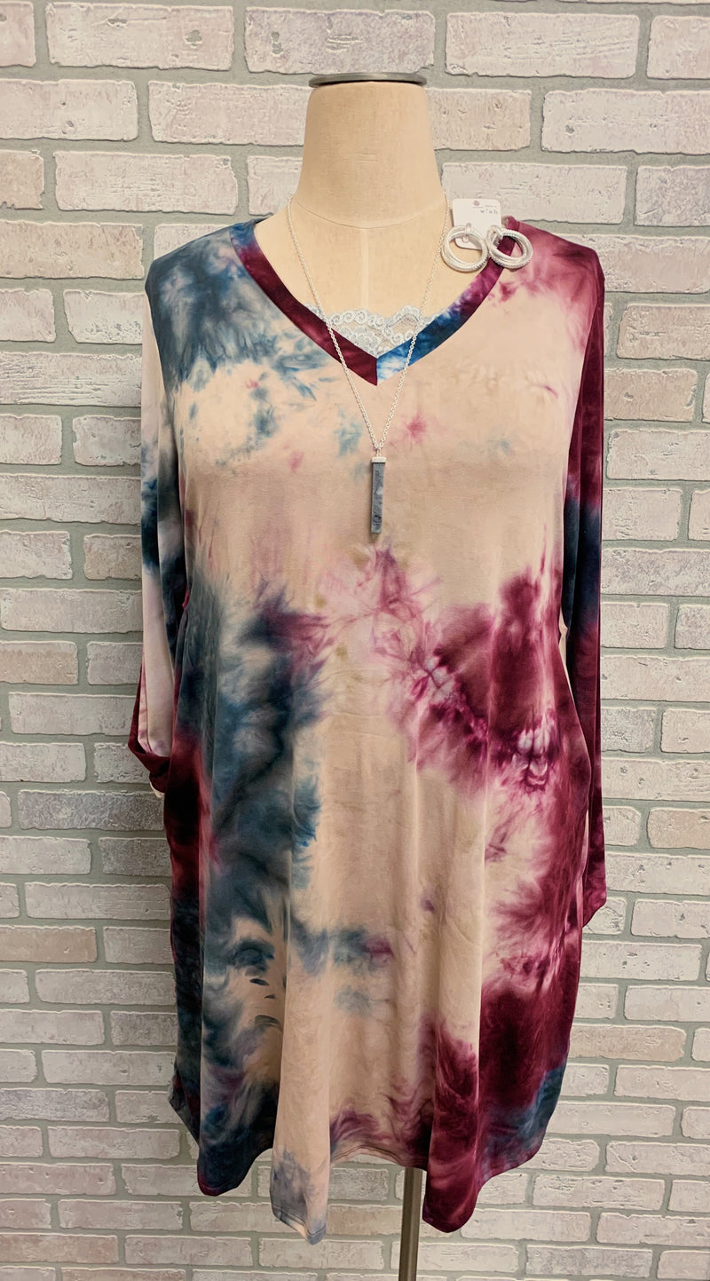 Plum/Charcoal/Stone Plus Long Sleeve Tie Dye Dress or Tunic