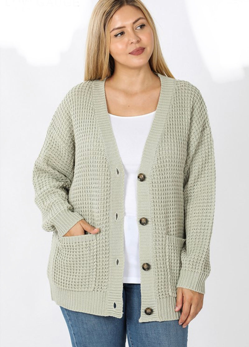 Light Sage Plus Waffle Button Cardigan