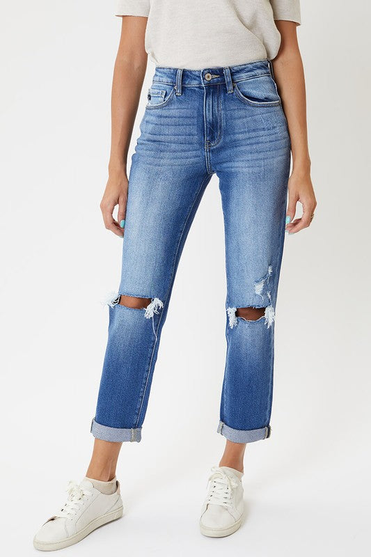 Brynn High Rise Straight Kancan Jean - Catching Fireflies Boutique