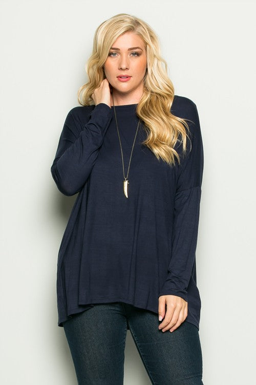 Navy Plus Basic Top - Catching Fireflies Boutique