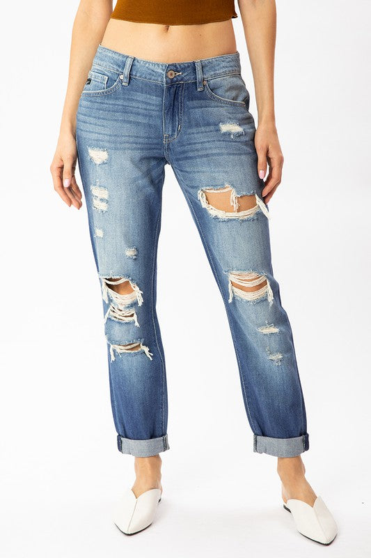 Paige Mid Rise Distressed Boyfriend Kancan Jeans - Catching Fireflies Boutique