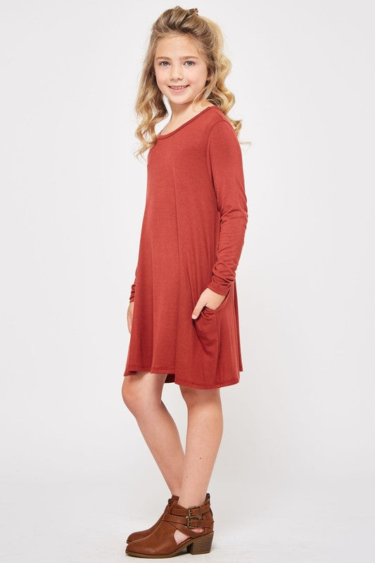 Girls Red Swing Dress