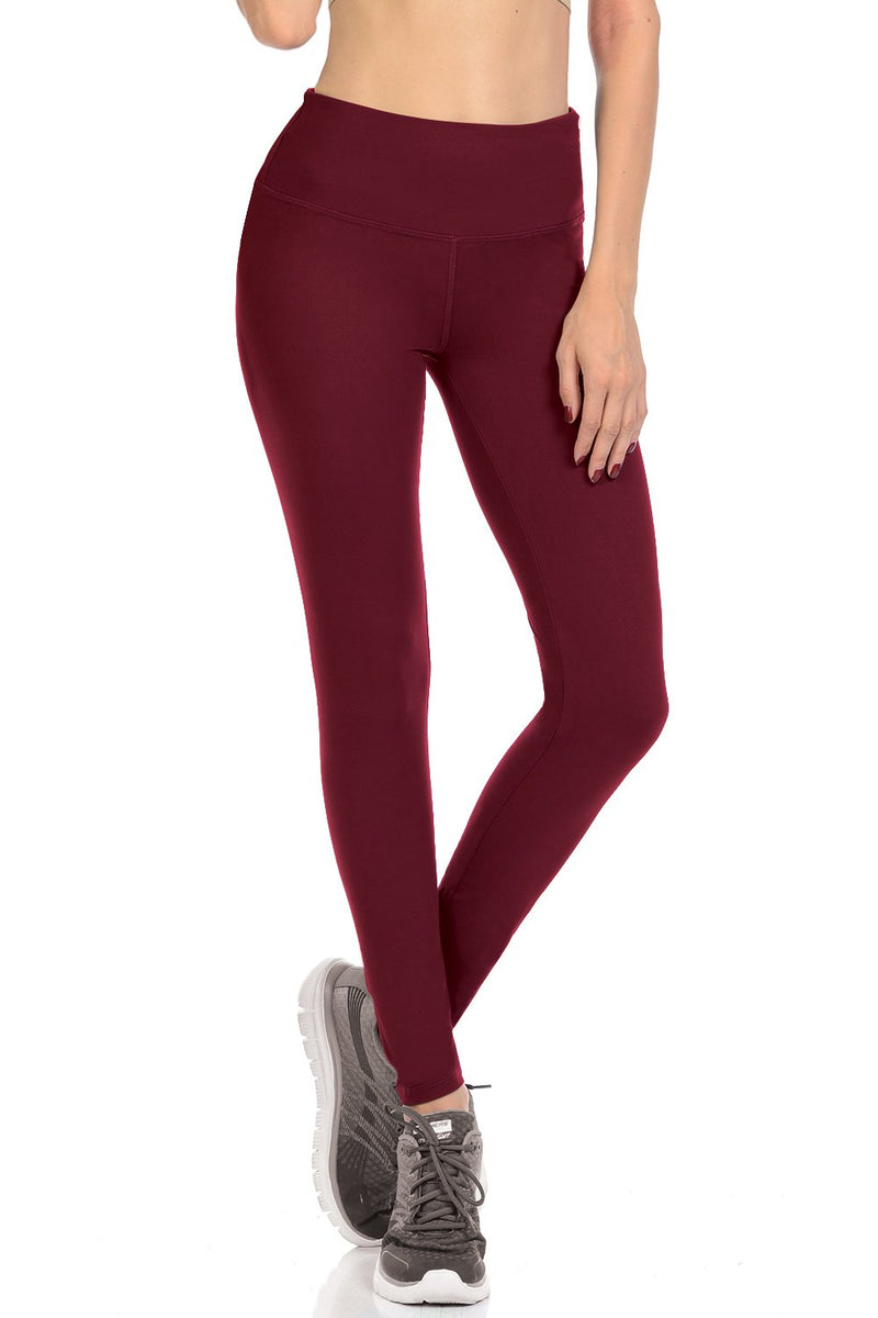 Burgundy Leggings With Hidden Pockets - Catching Fireflies Boutique
