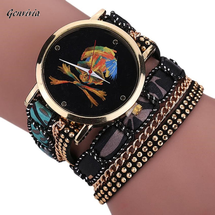 GENVIVIA relojes 2017 woman Women Girl Rhinestone Skull Pattern watches women Quartz Bracelet Wrist Watch orologio donna