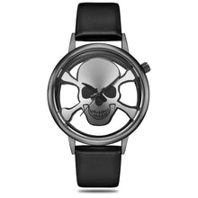 Load image into Gallery viewer, GEEKTHINK Hollow Skull Designer Watch Women Fashion Brand Quartz Ladies Casual Punk Leather Strap Clock Female Girls Trending