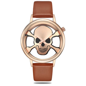 GEEKTHINK Hollow Skull Designer Watch Women Fashion Brand Quartz Ladies Casual Punk Leather Strap Clock Female Girls Trending