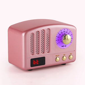 Mini Retro Bluetooth Speaker FM Radio Mic Portable Handsfree Outdoor Wireless Bluetooth Speaker Mp3 Player Subwoofer Stereo Spea