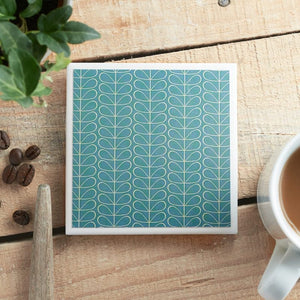 Retro Flower Blue<br> Coaster