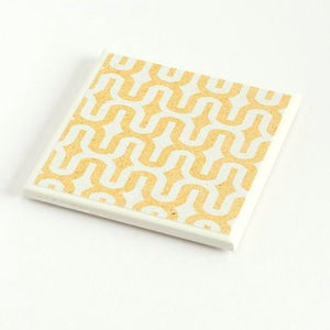 Denim Yellow Curve<br> Coaster