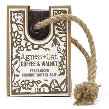Load image into Gallery viewer, Agnes & Cat Soap on a Rope - Coffee & Walnut