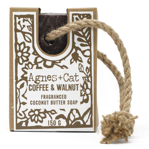 Agnes & Cat Soap on a Rope - Coffee & Walnut