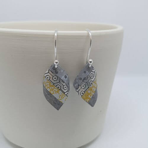 Handkerchief Earrings - Grey and Ochre