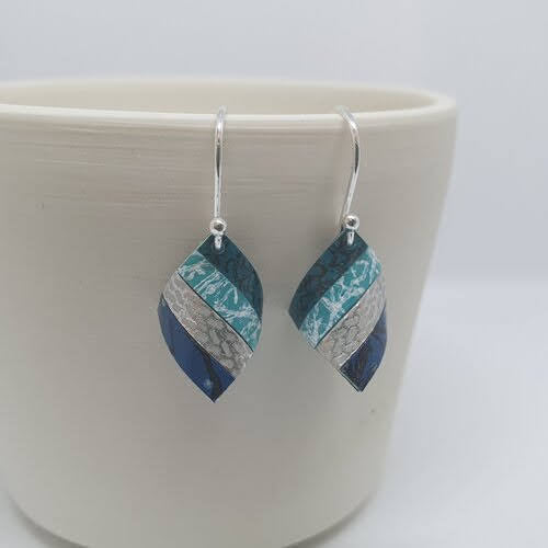 Handkerchief Earrings - Blue and Silver