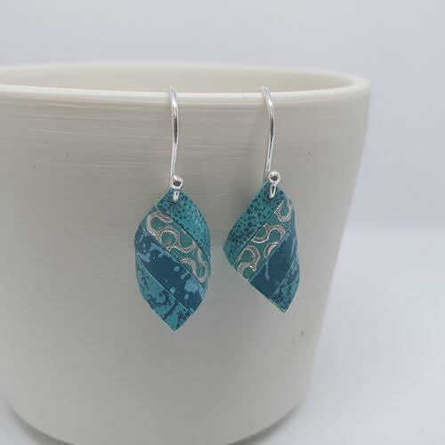 Handkerchief Earrings - Turquoise and Silver