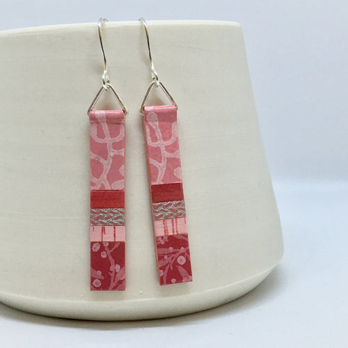 Hand Painted Earrings - Pink & Rose
