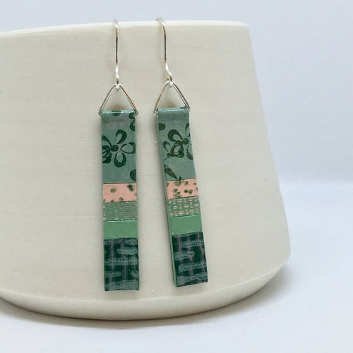 Hand Painted Earrings - Mid Green
