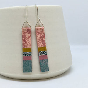 Hand-Painted Earrings - Pink & Duck Egg