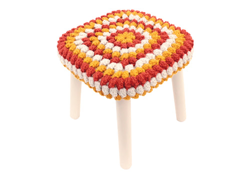 Granny Stitch Stool in Copper Amber & Natural Crochet