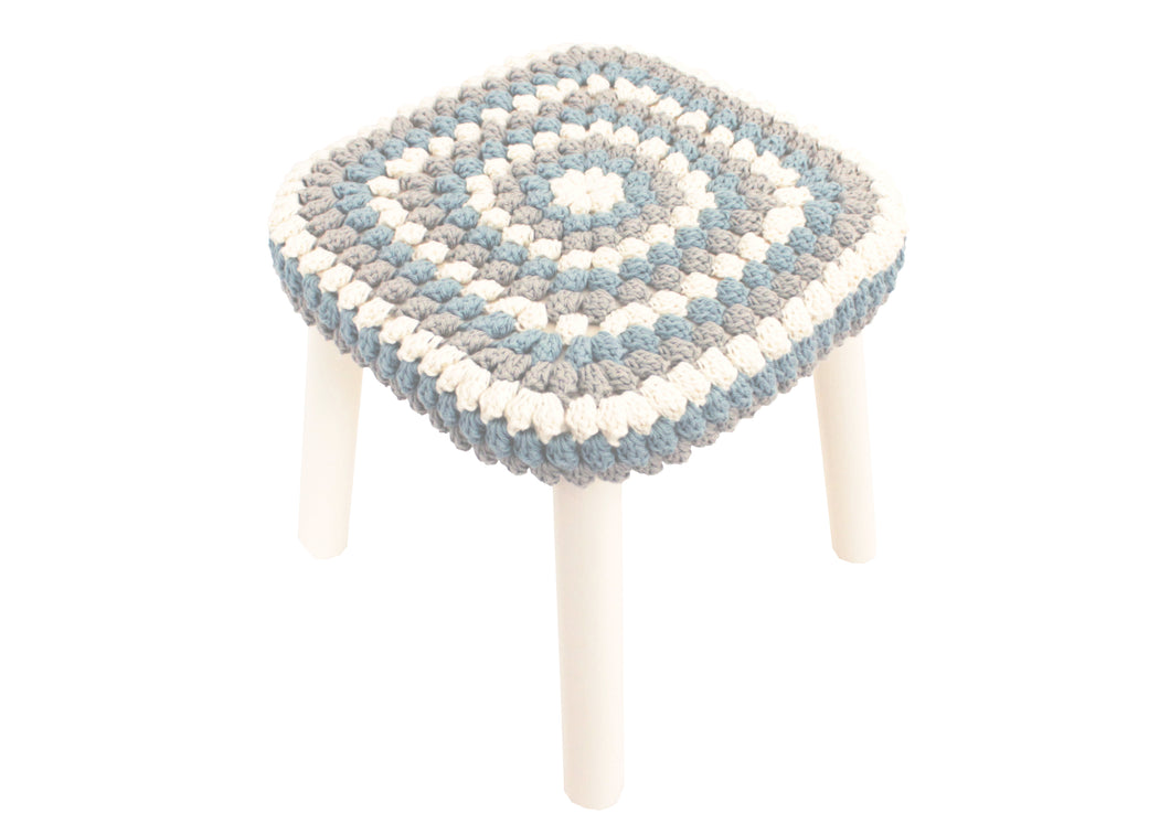 Granny Stitch Stool in Blue Grey Crochet
