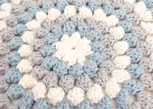 Load image into Gallery viewer, Granny Stitch Stool in Blue Grey Crochet
