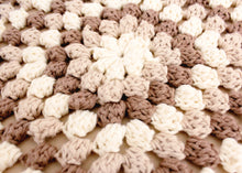 Load image into Gallery viewer, Granny Stitch Stool in Natural, Beige & Chocolate Crochet