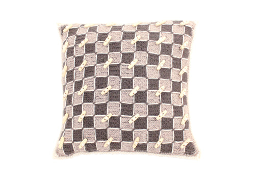 Checker Board Knitted Cushion