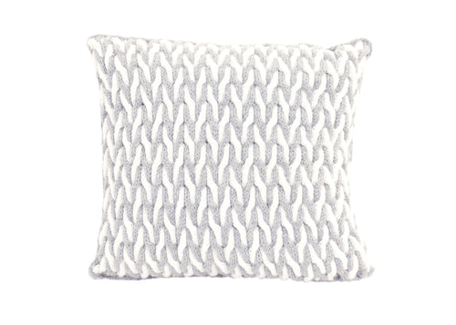 Cabled Zig-Zag Grey & White Knitted Cushion